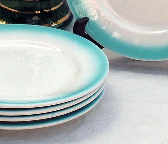 Buffalo China Restaurant Luncheon Plates Aqua Band White Classic Mid Century Roadside Diner Dishes