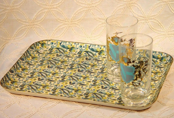 Paisley Hostess Tray In Turquiose And Gold. Retro Goods From The 1960s