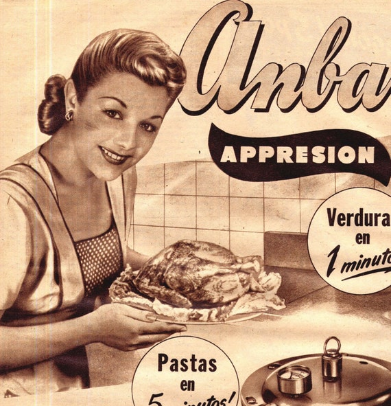 Happy Latina Housewife Pressure Cooker Kettle Para Ti Vintage Hispanic Advertising Buenos Aires 1949