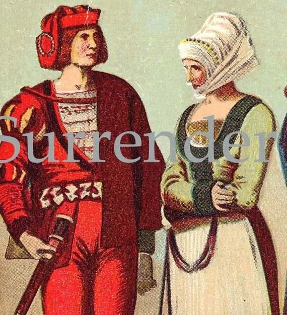 Costumes Of The Reformation England France  Women Men Chromolithograph Fashion Illustration