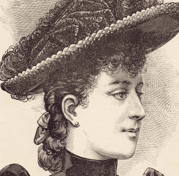 August 1890 Parisian Hat Vintage Fashions Ladies Victorian Engraved Illustration Paris France To Frame