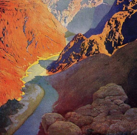 Grand Canyon Of The Colorado Maxfield Parrish Original Landscape Lithograph Print 1920s