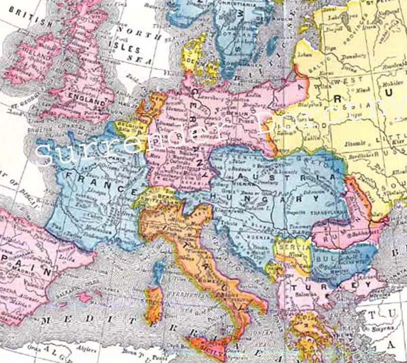 Map Europe Edwardian E...