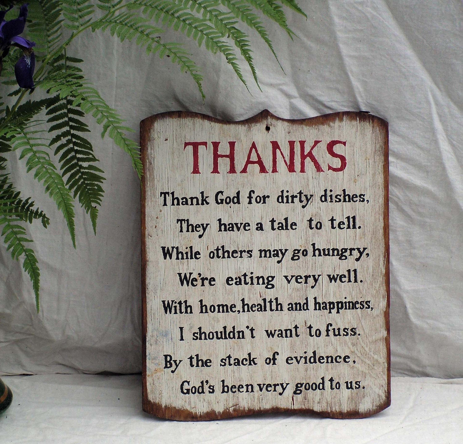 Kitchen Blessing Wall Decor: Dirty Dishes Prayer Plaque Vintage Kitchen 1960s