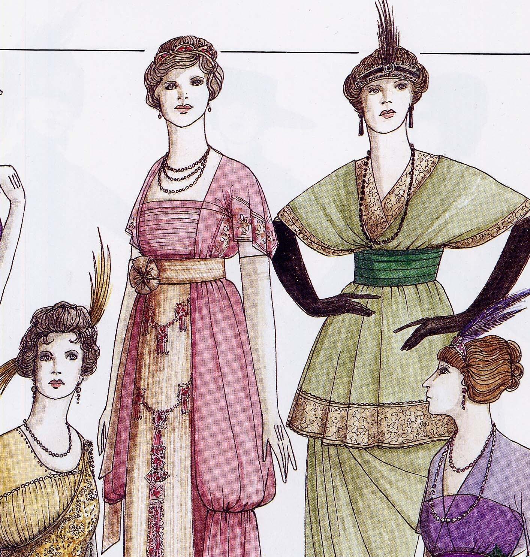 Evening wear fashions for women art deco era 1910 1914 for Art deco era clothing