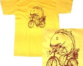 Fish Riding Vintage Bicycle Illustration T Shirt (All Sizes Available S, M, L, XL)