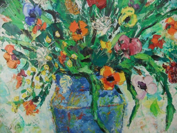 Vintage Original Oil Paint of Flowers in Vase by Shattuck