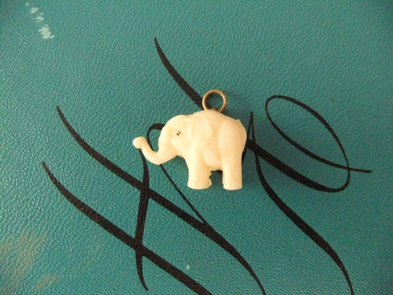 elephant  celluloid charm -  1930's  - 1940's - pendant - plastic - vintage - steampunk - altered art -jewelry - cracker jack -