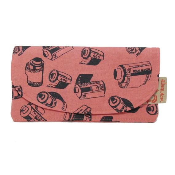 Pink film zipper wallet