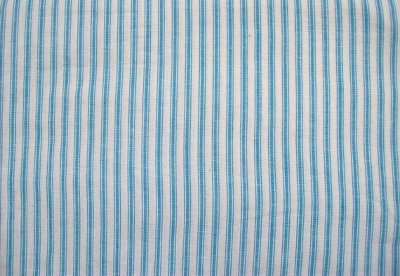 Blue/Ivory soft woven cotton ticking - stripes - 1.75 yards