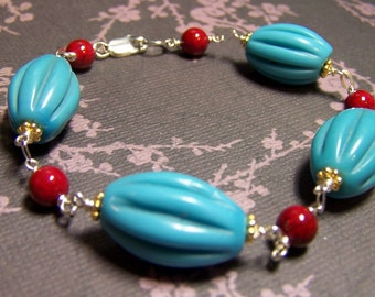 Gemstone Bracelet, Carved Turquoise Bracelet, Coral Bracelet, Gold Vermeil, Sterling Silver, Turquoise Jewelry, Coral Jewelry, Blue and Red