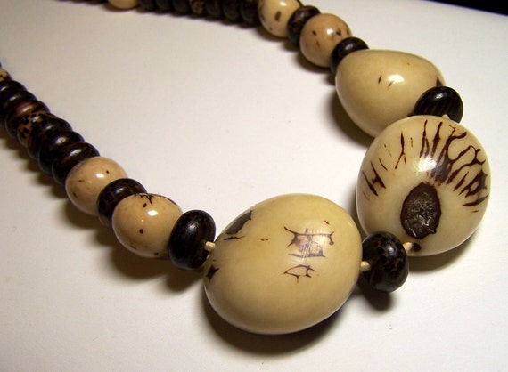 Tagua Nut Necklace With Flat Wood Rounds, Leather & Sterling Silver  - natural, earthy