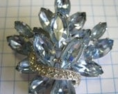 Vintage blue jewels and diamonds brooch
