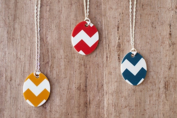 Chevron Necklace, Poppy, Gold or Teal on Silver Chain