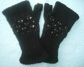 Knitted Black Lace Fingerless Gloves