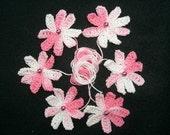 Crochet Pink Eight Petal Flowers - Embellishments