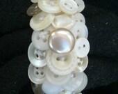 White Vintage Jewellery Button Bracelet Jewelry