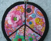 Peace Sign Collage - Flowers and Buttons - Discarded ReUsed CD