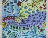 Dream Quilt ACEO Watercolour Picture Mixed Media OOAK