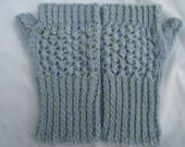 Blue Green Hand-Knit Fingerless Gloves Wrist-Warmers Alpaca