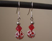 Red and Silver Crystal Earrings