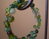Wire Wrapped Glass Bead Bangle Bracelet