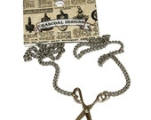 """Moveable Silver Colored Scissor Necklace Metal - Hairstylist Crafter - 16.75"""""""