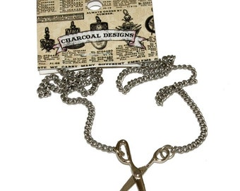 Moveable Silver Colored Scissor Necklace Metal - Hairstylist Crafter - 16.75""