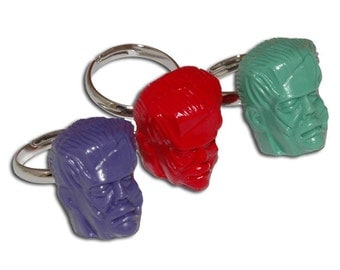 Frank N Stein Monster Adjustable Ring Your Color Choice - Frankenstein Head - Rockabilly Punk Psychobilly Halloween Horror