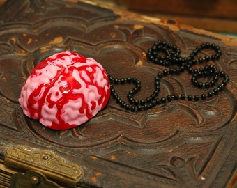 SALE Zombie Walking Dead Bloody Brains Necklace - Handmade Hand Cast Resin - Gothic Monster Psychobilly