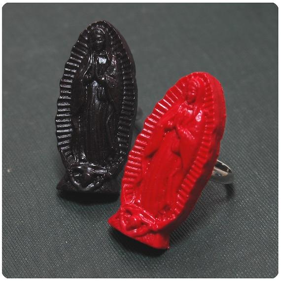 Virgin De Guadalupe Ring - Handmade Hand Cast Resin - Adjustable - Day Of The Dead Dia De Los Muertos - Rockabilly Car Culture