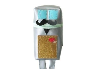 Suspiciously Sinister Facial Hair Robot Pouch