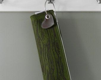 Woodgrain Loglet Log Wristlet in Moss and Brown