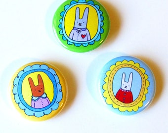 Bunny Portrait One Inch Button Set