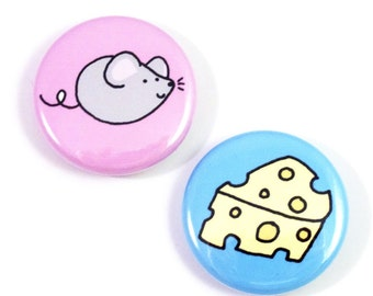 Mouse and Cheese Button Set