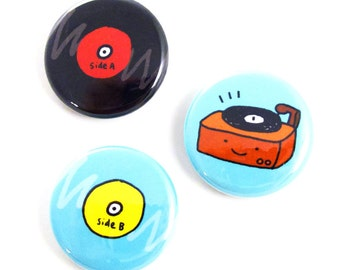 Old School Tunes One Inch Button Set