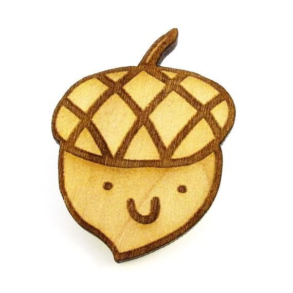 Happy Acorn Wood Pin