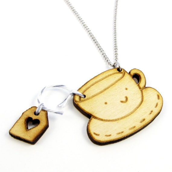 Tea Time Wood Charm Necklace Earl Gray Flavor