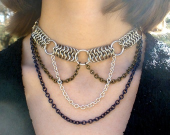The Collector - Silver Chainmaille Choker - Chainmaille Necklace - Navy Blue, Gunmetal Green, Cream and Silver Layered Necklace