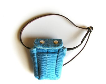 Mini Cyan Satchel with leather strap