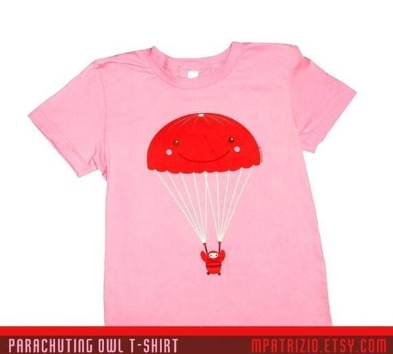 Parachuting Owl - ADULT SIZE T-Shirt  American Apparel