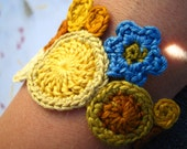 custom bracelet, crochet floral jewelry by Even Howard crochet art jewelry handmade custom colors available