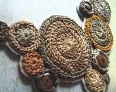 CUSTOM driftwood .bib necklace. handmade crochet jewelry by Even Howard, glass, grey, taupe, steel, sand - nadene