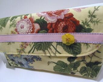 SALE Beautiful Floral Yellow Wristlet Clutch Bag, Catey Bag