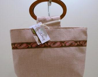 SALE Pink Paisley Fabric Purse, Wooden Handles Fabric Handbag, Veronica Collection/Eliza Bag