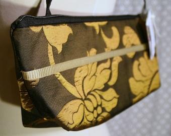 SALE Black and Copper Floral Print Fabric Shoulder Bag, Handmade Handbag, Fabric Handbag Purse, Lexie Bag