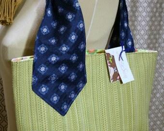 SALE Vintage Tie Collection, Fabric Handmade Handbag, Pale Green Fabric Purse