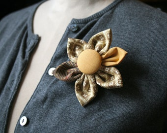 Tan Fabric Flower Brooch, Flower Pin - Handmade Fabric Flower Pin