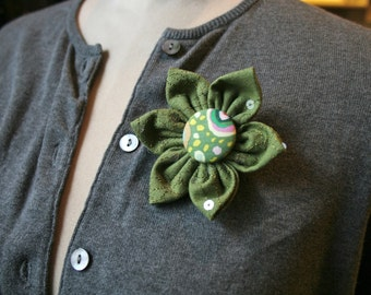 Green Fabric Flower Brooch, Flower Pin - Handmade Fabric Flower