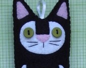 Folk Art Kitty Cat Plush Felt Ornament - Black and White Plush Cat - Felt Cat Ornament